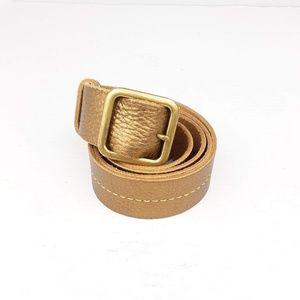 J.Crew Metallic Gold Leather Belt Gold Tone Buckle